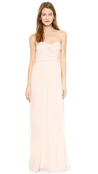 Monique Lhuillier Bridesmaids Strapless Sweetheart Chiffon Gown
