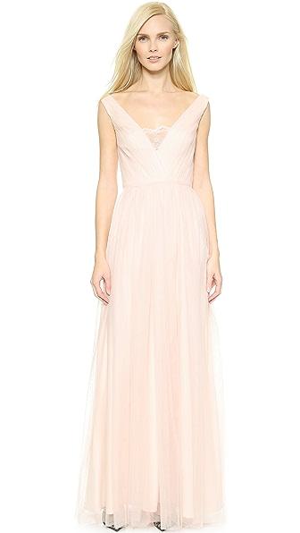Monique Lhuillier Bridesmaids Mesh Gown with Lace V Inset