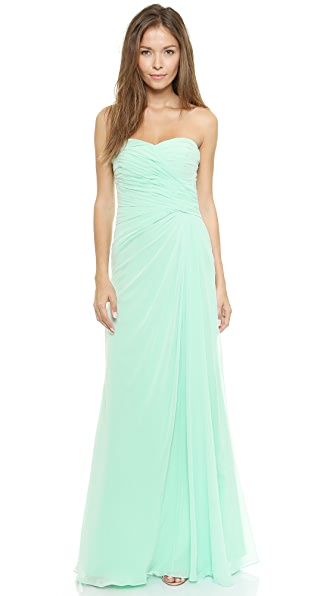 Monique Lhuillier Bridesmaids Strapless Ruched Gown