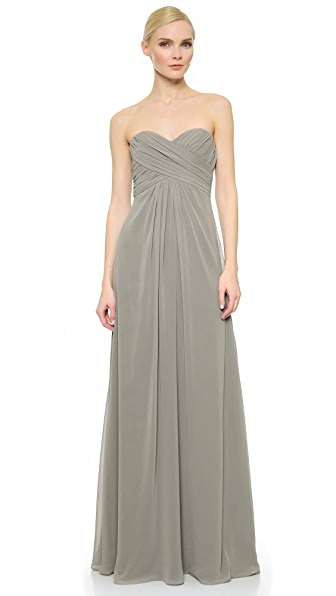 Monique Lhuillier Bridesmaids Pleated Sweetheart Gown In Slate