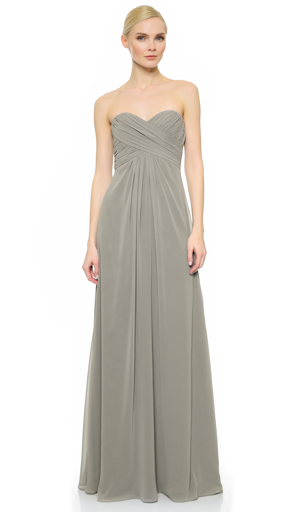 Monique lhuillier bridesmaids pleated sweetheart gown shopbop ombrellifo Gallery