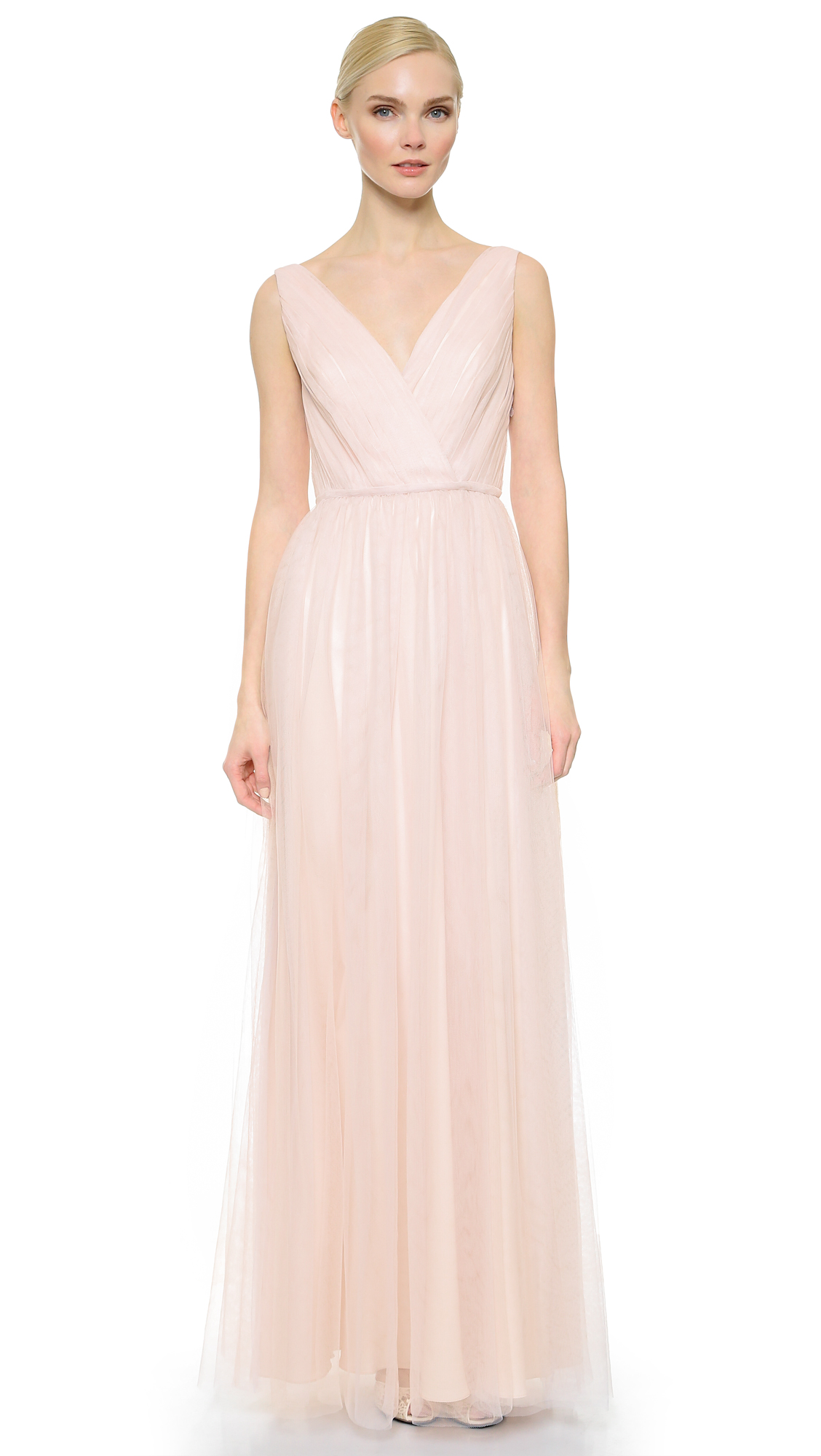 Monique Lhuillier Bridesmaids Shirred Multi Tone V Neck Gown - Blush/Lavender