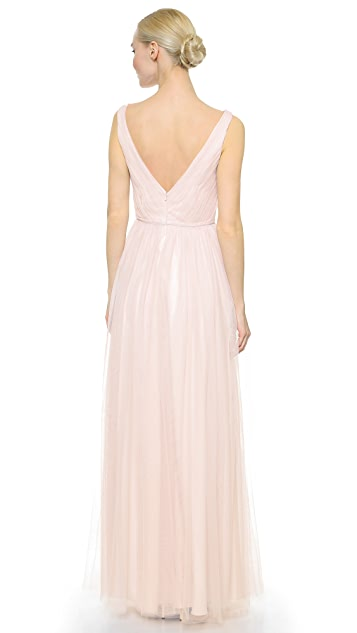 Monique Lhuillier Bridesmaids Shirred Multi Tone V Neck Gown