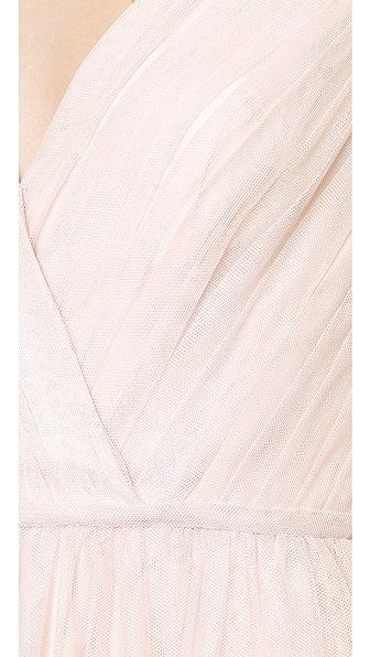 MONIQUE LHUILLIER BRIDESMAIDS Shirred Multi Tone V Neck Gown in Blush/Lavender
