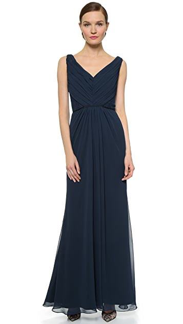 Monique Lhuillier Bridesmaids Pleated Gown with Lace Trim