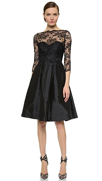 Monique Lhuillier Bridesmaids Lace Bodice V Back Dress In Black