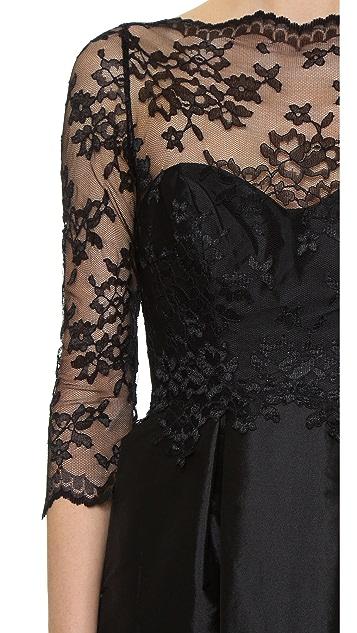Monique Lhuillier Bridesmaids Lace Bodice V Back Dress