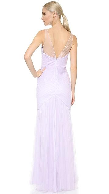 Monique Lhuillier Bridesmaids V Neck Tulle Dress