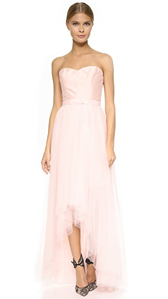 Monique Lhuillier Bridesmaids Blush Pink Strapless Dress with Removable Skirt