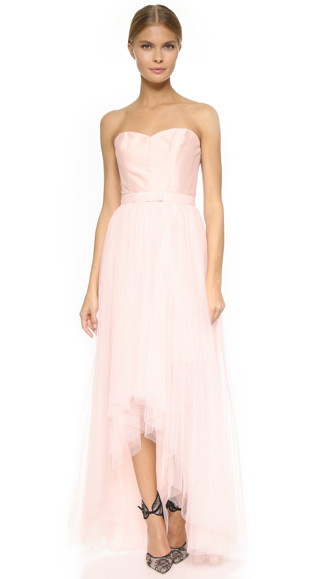 Monique Lhuillier Bridesmaids Strapless Dress with Removable Skirt - Blush