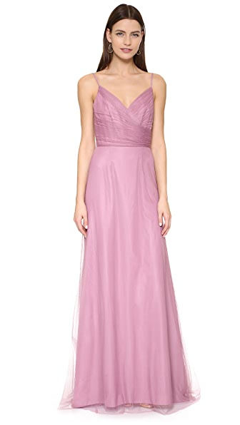 Monique Lhuillier Bridesmaids Draped Tulle Gown