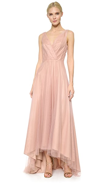 Monique Lhuillier Bridesmaids High Low Tulle Dress In Shell