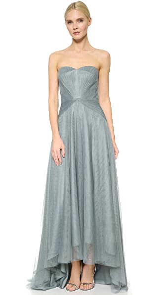 Monique Lhuillier Bridesmaids Strapless Sweetheart High Low Dress ...