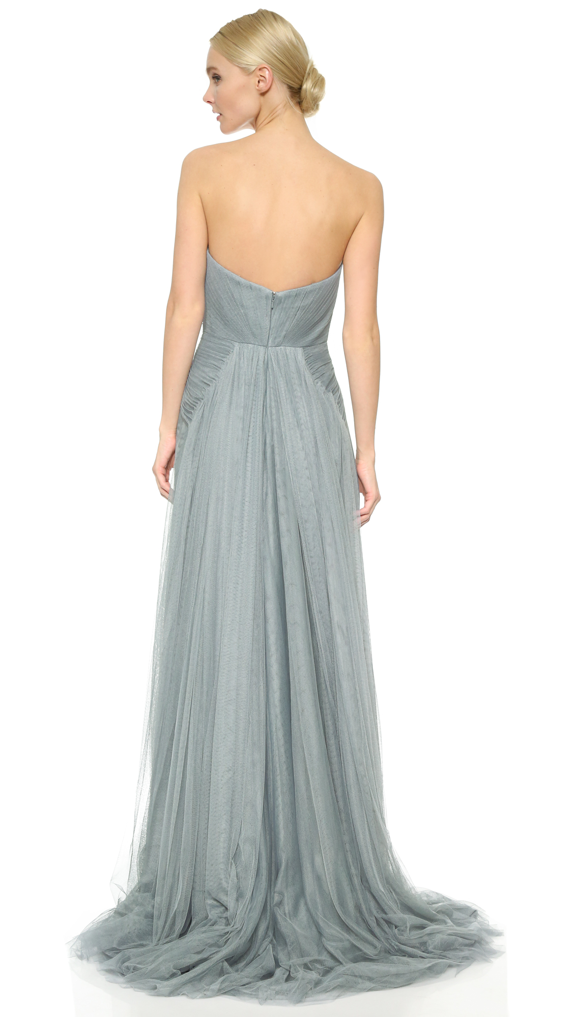 Monique Lhuillier Bridesmaids Strapless Sweetheart High Low Dress ...