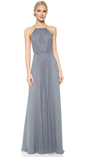 Monique Lhuillier Bridesmaids Halter Dress with Tulle Panel - Steel
