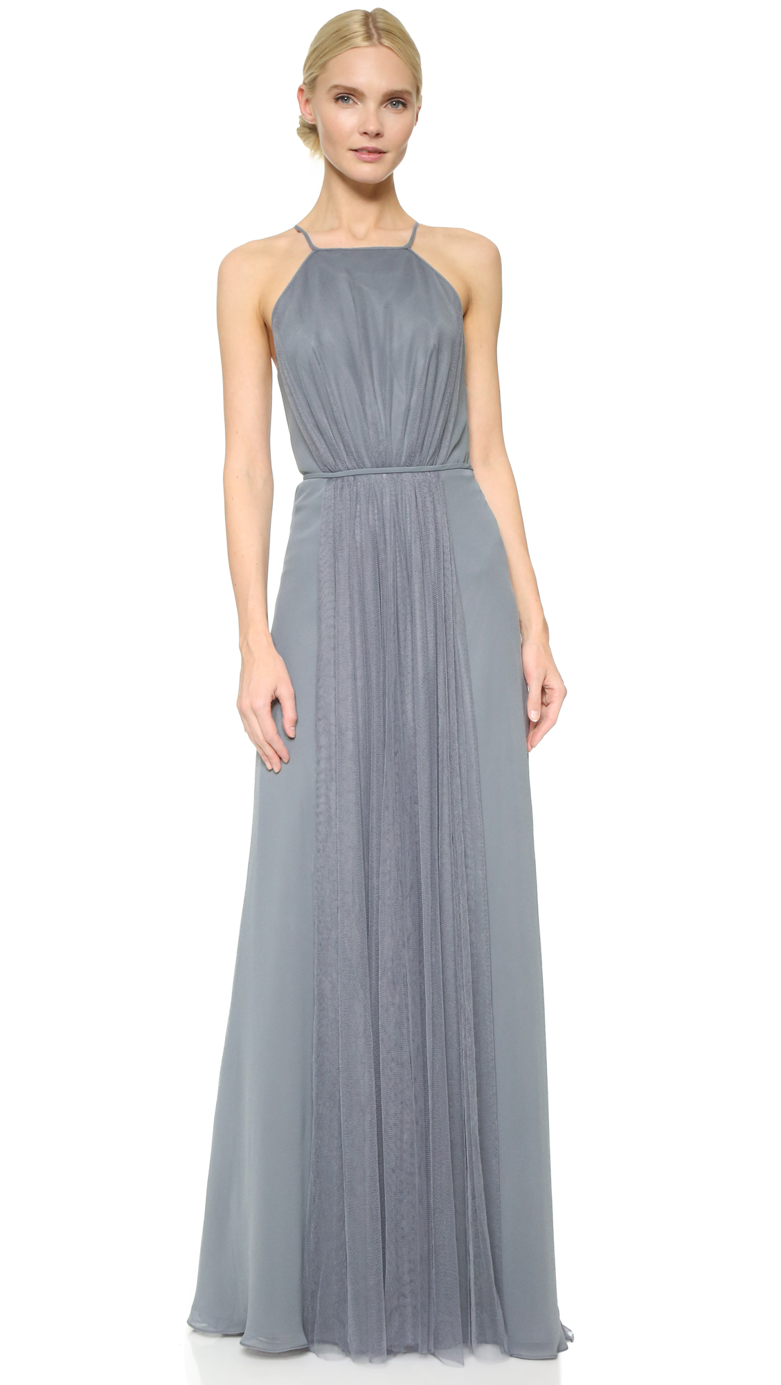 Monique Lhuillier Bridesmaids Halter Dress with Tulle Panel - Steel