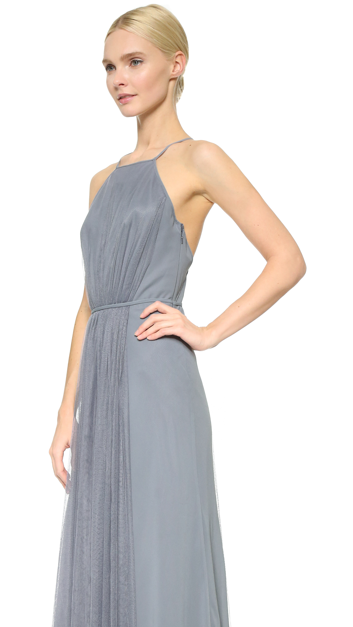 Monique Lhuillier Bridesmaids Halter Dress with Tulle Panel | SHOPBOP