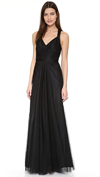 Monique Lhuillier Bridesmaids Keyhole Back Tulle Gown