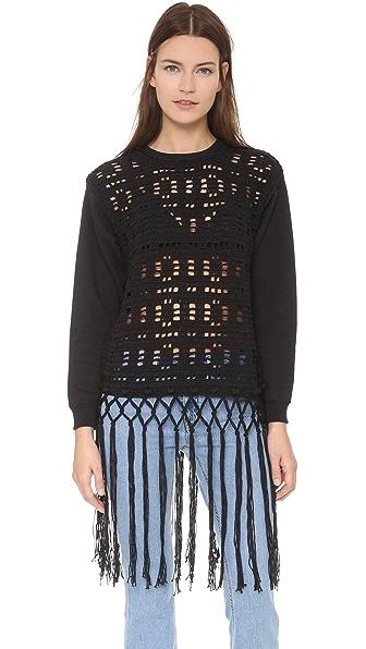 Michaela Buerger Пуловер Donna Anna со связанной крючком отделкой
