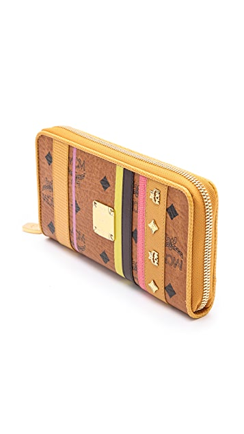 MCM Color Visetos Large Zip Wallet