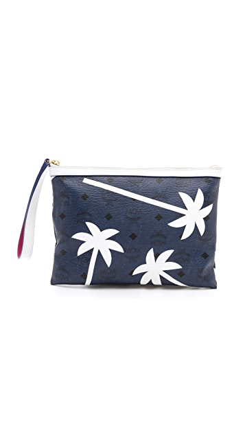 MCM Craig & Karl Medium Pouch with Palm Trees