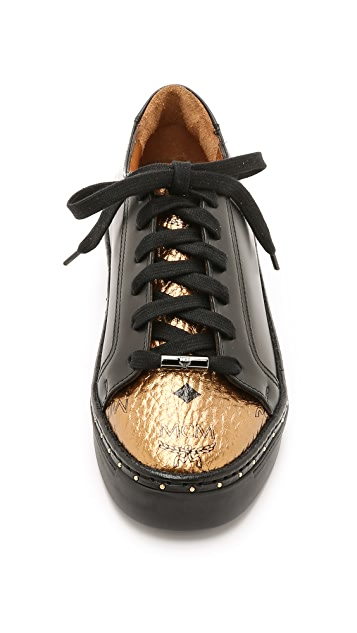 MCM Lace Up Low Top Sneakers
