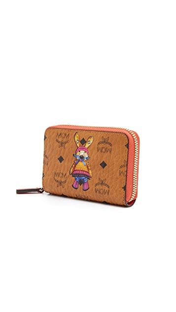 MCM Rabbit Zip Around Card Case