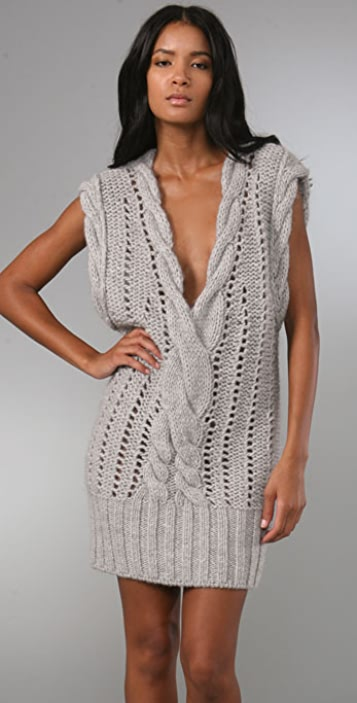 McQ - Alexander McQueen V Neck Cable Knit Dress