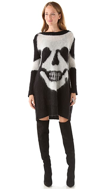 McQ - Alexander McQueen Skull Intarsia Sweater Dress