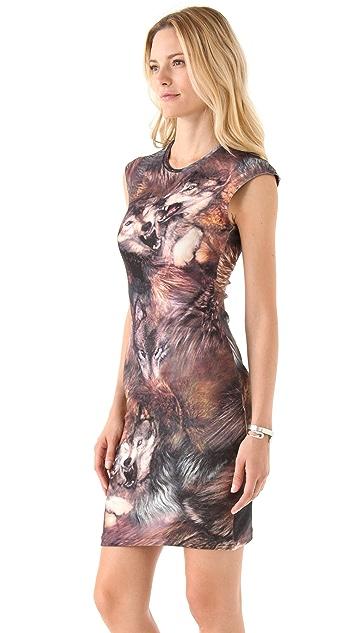 McQ - Alexander McQueen Wolf Print Cap Sleeve Dress