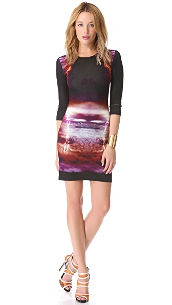 McQ - Alexander McQueen 3/4 Sleeve Print Dress