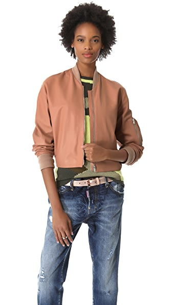 McQ - Alexander McQueen Cropped Leather Bomber Jacket