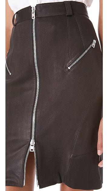 McQ - Alexander McQueen Stretch Leather Pencil Skirt