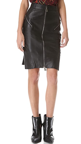 McQ - Alexander McQueen Gunmetal Zip Leather Skirt
