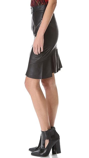 McQ - Alexander McQueen Gunmetal Zip Leather Skirt