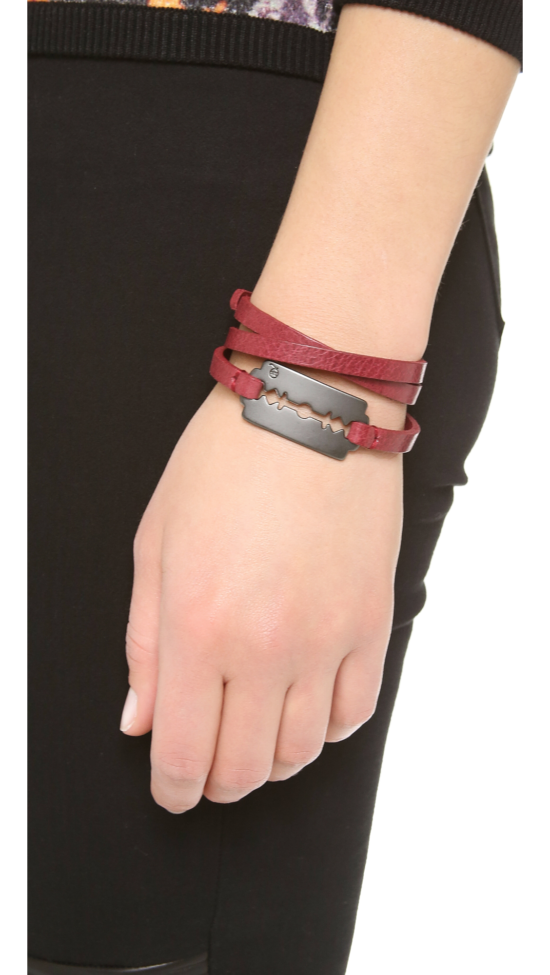 cole allison gold nro wrap bracelet triple navy red ivory