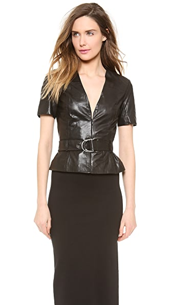 McQ - Alexander McQueen Peplum Hybrid Leather Top