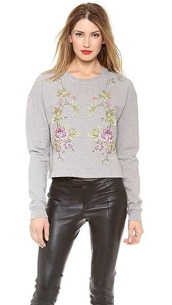 McQ - Alexander McQueen Embroidered Ribless Sweatshirt