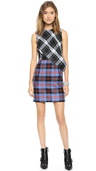 McQ - Alexander McQueen Drape Top Plaid Dress