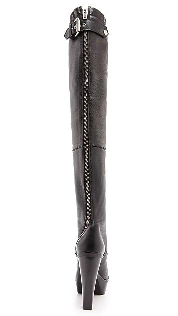 McQ - Alexander McQueen Max Curved Zip Knee High Boots