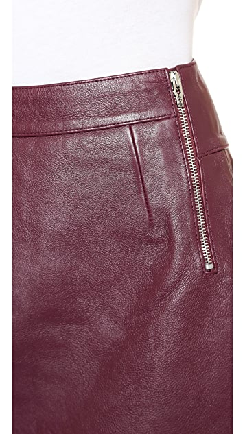 McQ - Alexander McQueen Side Zip Leather Skirt