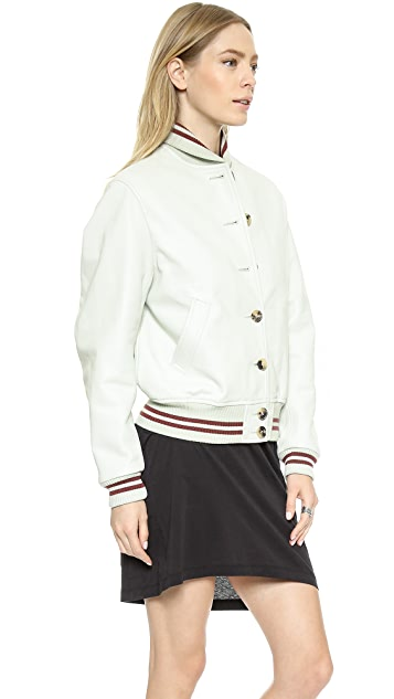 McQ - Alexander McQueen Varsity Leather Bomber Jacket