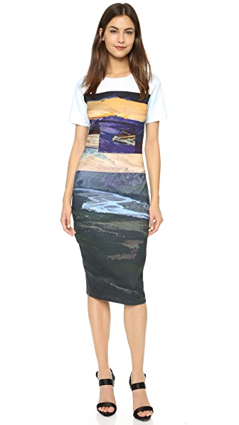 Mcq - Alexander Mcqueen Body Con Midi Dress - Multi Landscape