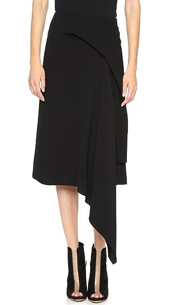 Mcq - Alexander Mcqueen Long Handkerchief Drape Skirt - Black