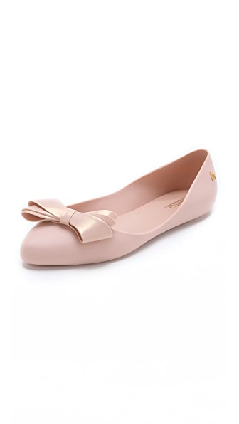 Shop Melissa online and buy Melissa Trippy Iv Bow Flats Light Pink shoes online