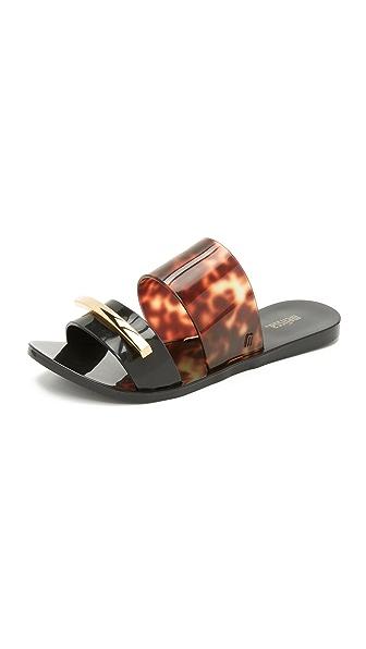 Melissa Wonderful Ii Slide Sandals - Black/Tortoise Shell
