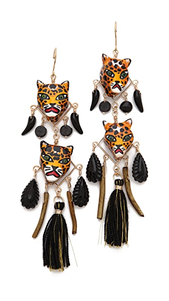 Mercedes Salazar Leopard Face Drop Earrings