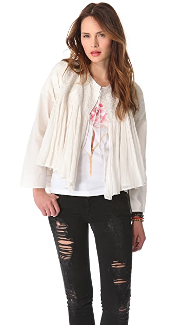 Mes Demoiselles Jade Gauze Embroidered Jacket