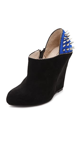 Messeca New York Studded Suede Wedge Booties