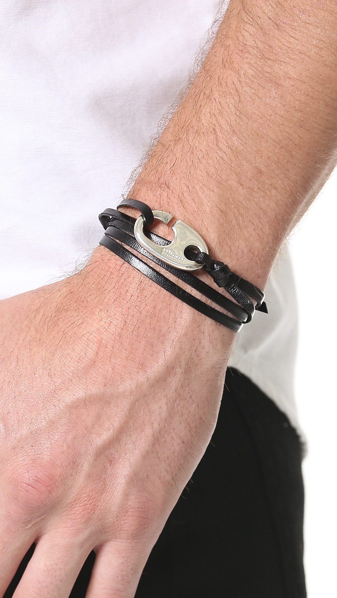 Miansai Silver Hook Leather Bracelet Miansai Brummel Hook Leather